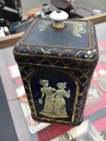 Fémdoboz,porcelángombos cukros doboz,antik,retro