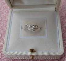Szolid virágos ezüst gyűrű - új ékszer 17,6 mm és 19,3 mm