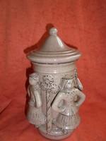 Városlődi kerámia figurás fedeles tároló edény