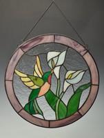 Szecessziós Tiffany ólomüveg kép, ablakdisz, madárral, liliommal.