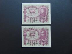 2 darab 20 korona 1922 Sorszámkövető Hajtatlan bankjegyek