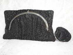 Art deco, antik eredeti krokodil bőr alkalmi táska + benne réz láncon pénztárca