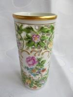 Herendi porcelán rózsás áttört mintás szalvétatartó(?) vagy száraz virág váza