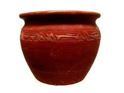 Súlyos egyiptomi amfora antik kaspó irtó nehéz, arany díszes
