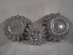 Fém  - 3 db -  régi, alumínium kuglóf formák, 20 x 7, 18 x 6, 14 x 4 cm HIBÁTLAN - HASZNÁLHATÓ