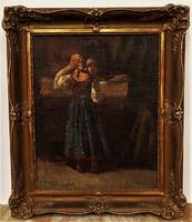 Turmayer Sándor (1879 - 1953) Reggel a tükör előtt c . olajfestménye 65x55cm EREDETI GARANCIÁVAL !