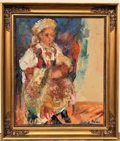 Juhász Erika (1926 - ) Leány népviseletben c . olajfestménye 70x60cm EREDETI GARANCIÁVAL !!