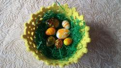 Muránói üveg tojáskák filc kosárkában