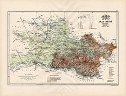 Arad megye térkép 1888 (3), Magyarország, vármegye, régi, atlasz, eredeti, Kogutowicz Manó, Gönczy
