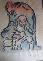 Gergely Imre: Faust, 1933, grafika, lavírozott tus, akvarell