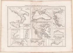 Görög települések térkép, készült 1860-ban, francia, atlasz, eredeti, 32x44, történelmi, antik világ