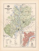 Csongrád megye térkép 1887 (3), vármegye, régi, atlasz, eredeti, Kogutowicz Manó, Gönczy Pál, Szeged