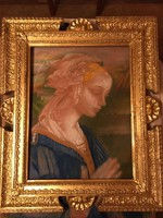Reneszánsz Madonna pasztell kép, 1800 -as évek vége. Olasz reneszánsz keretbe.