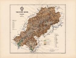 Trencsén megye térkép 1886 (3), vármegye, atlasz, Kogutowicz Manó, 43 x 57 cm, Gönczy Pál, nagy