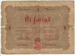 5 Öt forint 1848 Kossuth bankó Piros betű 1.