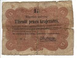 15 Tizenöt pengő krajczárra Kossuth bankó 1848 1.