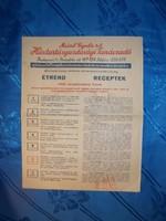 Meinl gyula háztartási tanácsadó étrend recept papír 1942