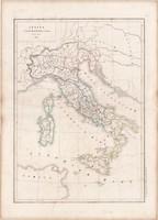 Itália térkép, készült 1850-ben, francia, atlasz, eredeti, 32x45, történelmi, római kor, antik