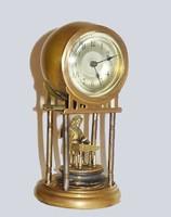 Antik német réz  asztali óra ,kis bronz angyal szoborral .