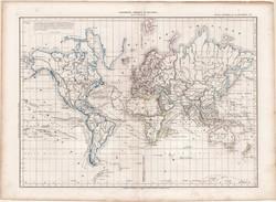 Világtérkép 1860, francia nyelvű, atlasz, eredeti, 32 x 45 cm, Dussieux, térkép, Föld, világ, régi