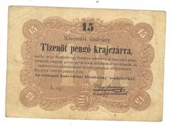 15 Tizenöt pengő krajczárra Kossuth bankó 1848 2.