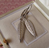 Leveles ezüst fülbevaló - cirkónia díszítéssel - új ékszer