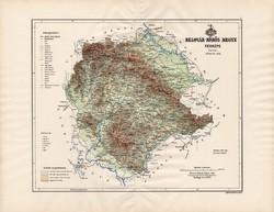 Belovár - Körös megye térkép 1890 (3), vármegye, régi, atlasz, eredeti, Kogutowicz Manó, Gönczy Pál