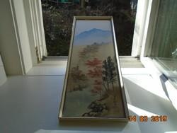Japán tájkép,szignós selyem festmény-57,5x21,5 cm