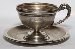 Antik Gyönyörű Cizellált Ezüst ( 800 ) Mokkás Csésze Tányérkájával Fémjelzett Mesterjelzett