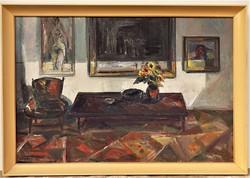 Göldner Tibor (1929 - ) Csendélet c. Képcsarnokos olajfestménye 96x66cm EREDETI GARANCIÁVAL !!