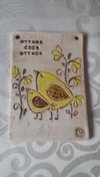 Sárga madárkás kerámia ajtótábla, falidísz