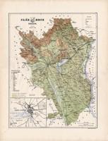 Fejér megye térkép 1888 (3), vármegye, atlasz, Kogutowicz Manó, 43 x 57 cm, Gönczy Pál, nagy méret