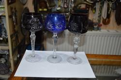 3 darab színes kristály pohár