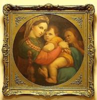 Raffaello után:Madonna della seggiola,70 x 70 cm, olaj-vászon