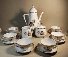 Hollóházi rózsa mintás kávés készlet  vitrin állapot