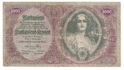 5000 Korona 1922 Osztrák - Magyar Bank  Ritka
