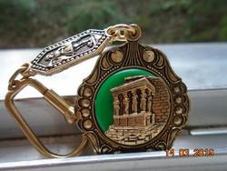 Dombor aranyozott antikolt Kariatidák,Erekhtheion mintával nagyon dekoratív kulcstartó vagy medál