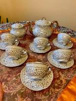 Zsolnay barokk dúsan aranyozott, aranytollazott teás készlet az 1940 -es évekből I. Osztályú