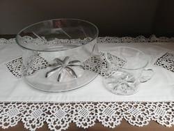 Antik metszett üveg bóleves tál és pohár