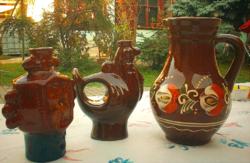 Retró barna mázas hasas kerámia kancsó váza, 26 cm