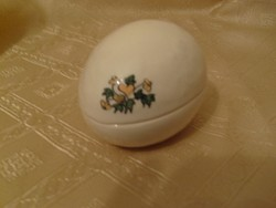 Nagyméretű festett Porcelán tojás bonboniker V. ékszertartó 12-cm