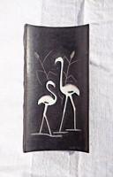 Porcelán gázló madár pár, falidísz