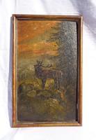 Bika bőgés, olaj festmény fa lemezen