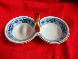 Zsolnay asztali sótartó pávás bordűrrel