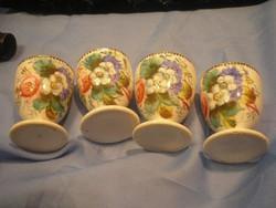 N15 Aranyszegélyes élénk színű virágos tojástartók szép állapotban
