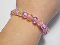 Roppantott  üveg  gumis karkötő rózsaszín sárga lila