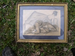 Pornó rajz, Zichy aláírással!  22 x 32 cm.  papír, üvegezett keretben!