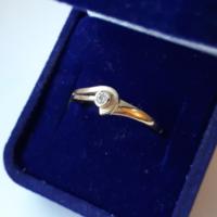Arany eljegyzési gyűrű (jelzett)