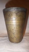 Antik megmunkált réz pohár