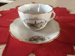 Antik aquincumi porcelán kézi festésű kávés csésze tányérral